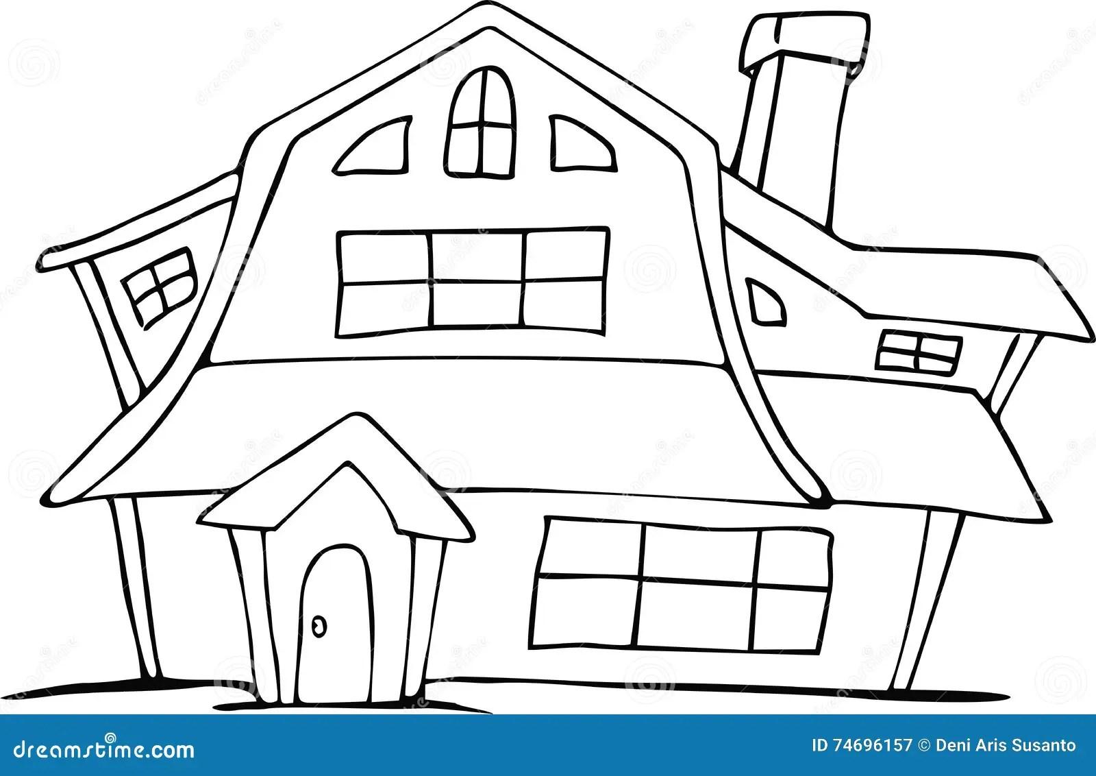 Cartoon Hand Drawing Dutch House Stock Vector