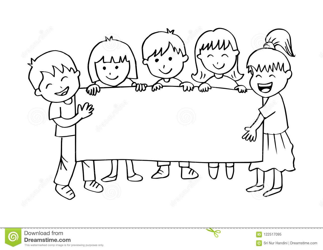 Children Holding Banner Clipart Black And White