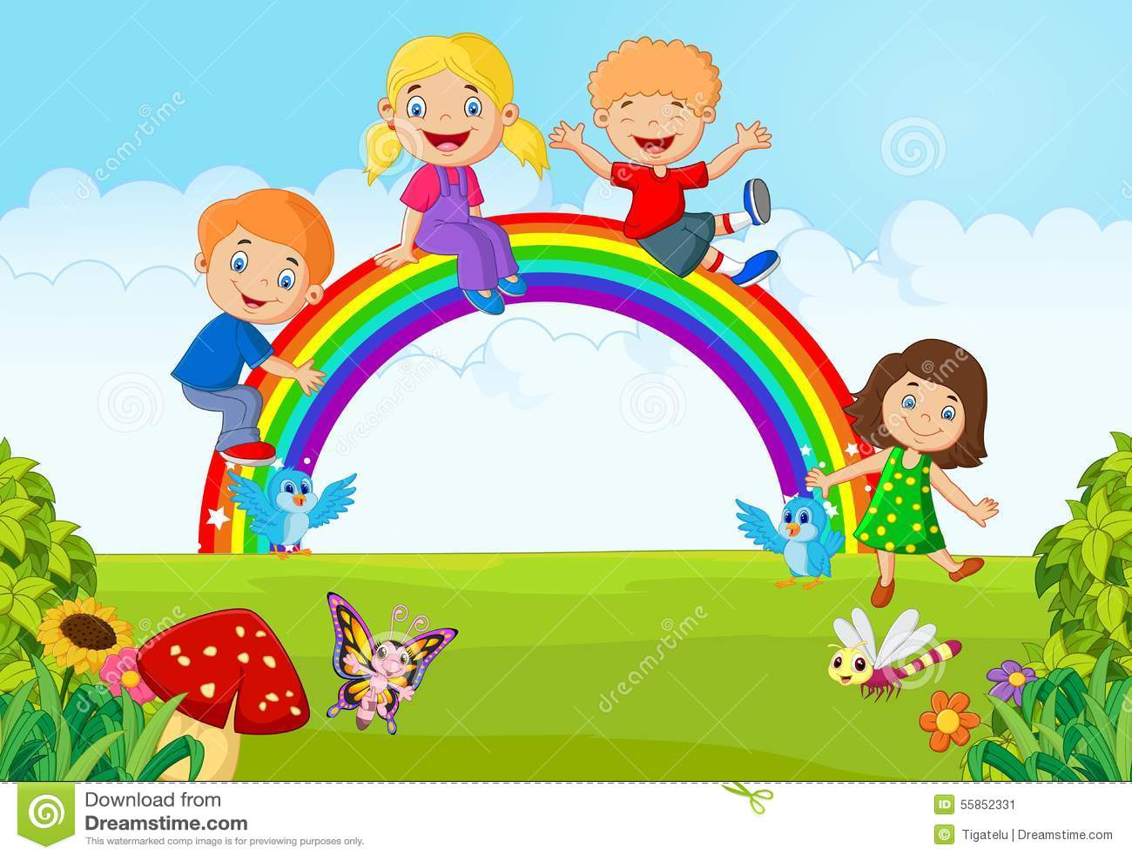 Cartoon Happy Kids Sitting Rainbow Stock Illustrations