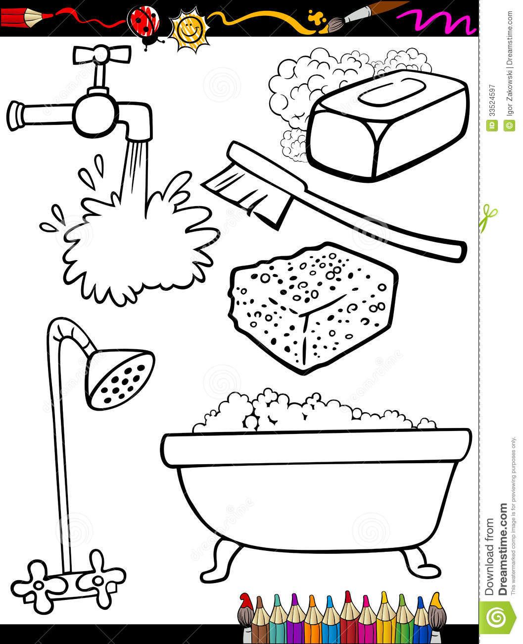 Cartoon Hygiene Objects Coloring Page Royalty Free Stock Photography