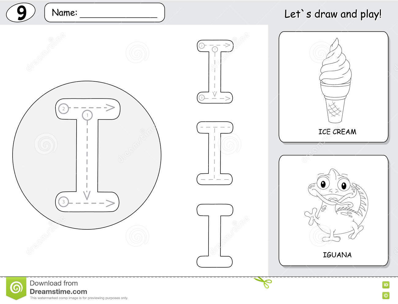 Cartoon Ice Cream And Iguana Alphabet Tracing Worksheet Writing A Z And Educational Game For