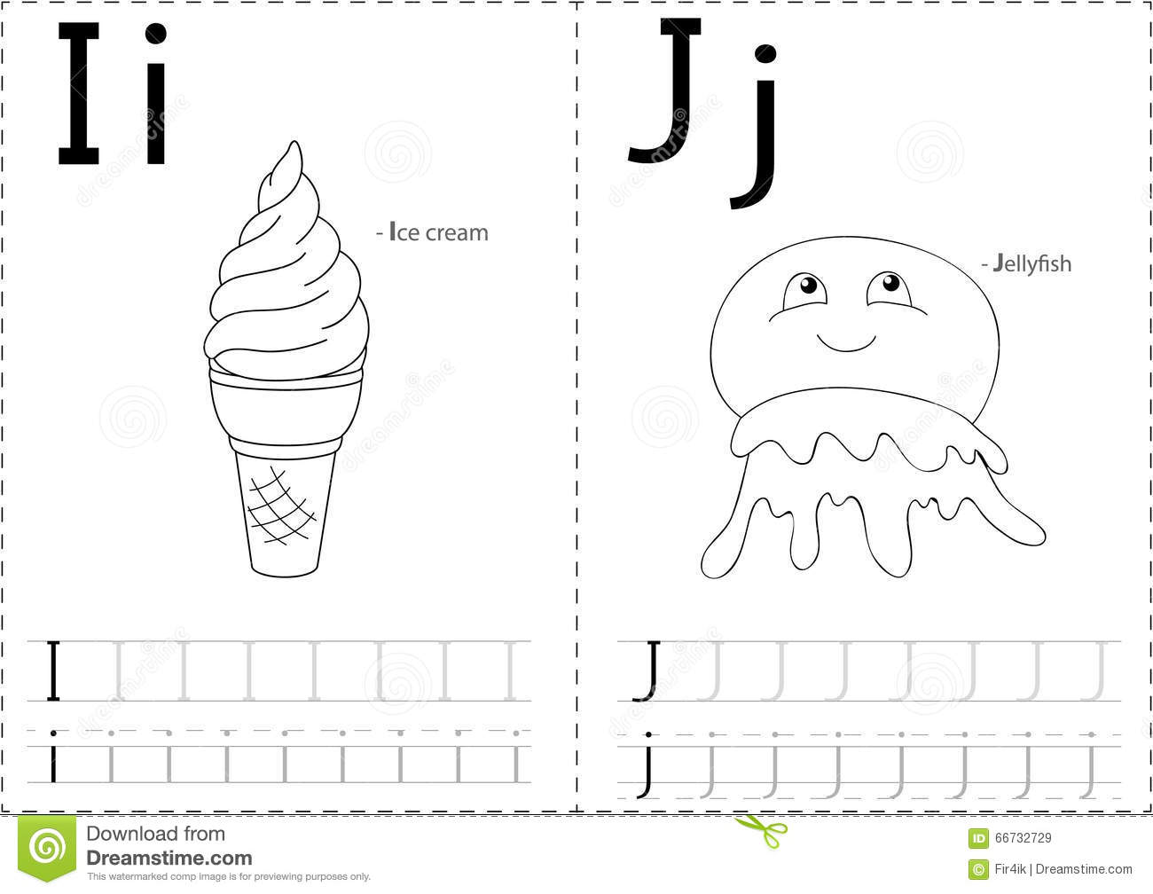 Cartoon Ice Cream And Jellyfish Alphabet Tracing Worksheet Writing A Z And Educational Game