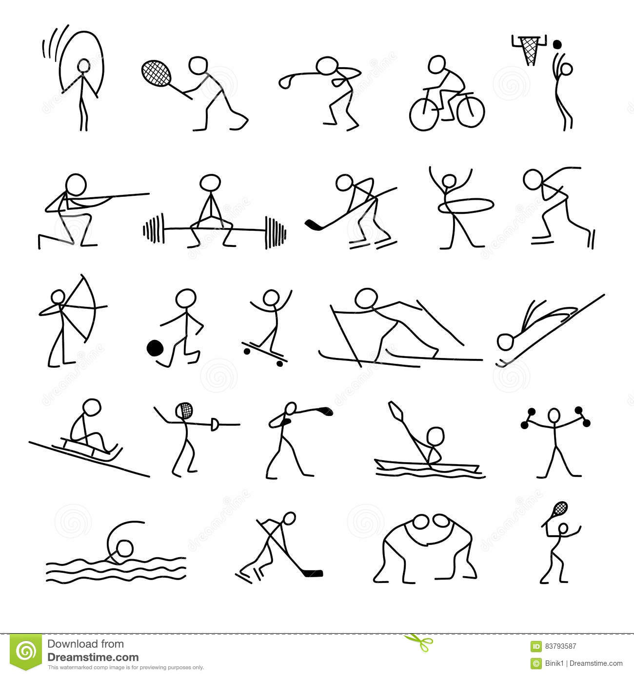 Cartoon Icons Sport Set Of Stick Figures Sketch Little