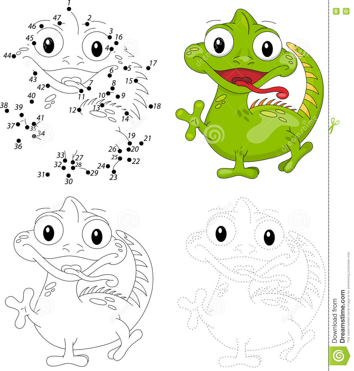 Cartoon Iguana Dot To Dot Game For Kids Stock Vector