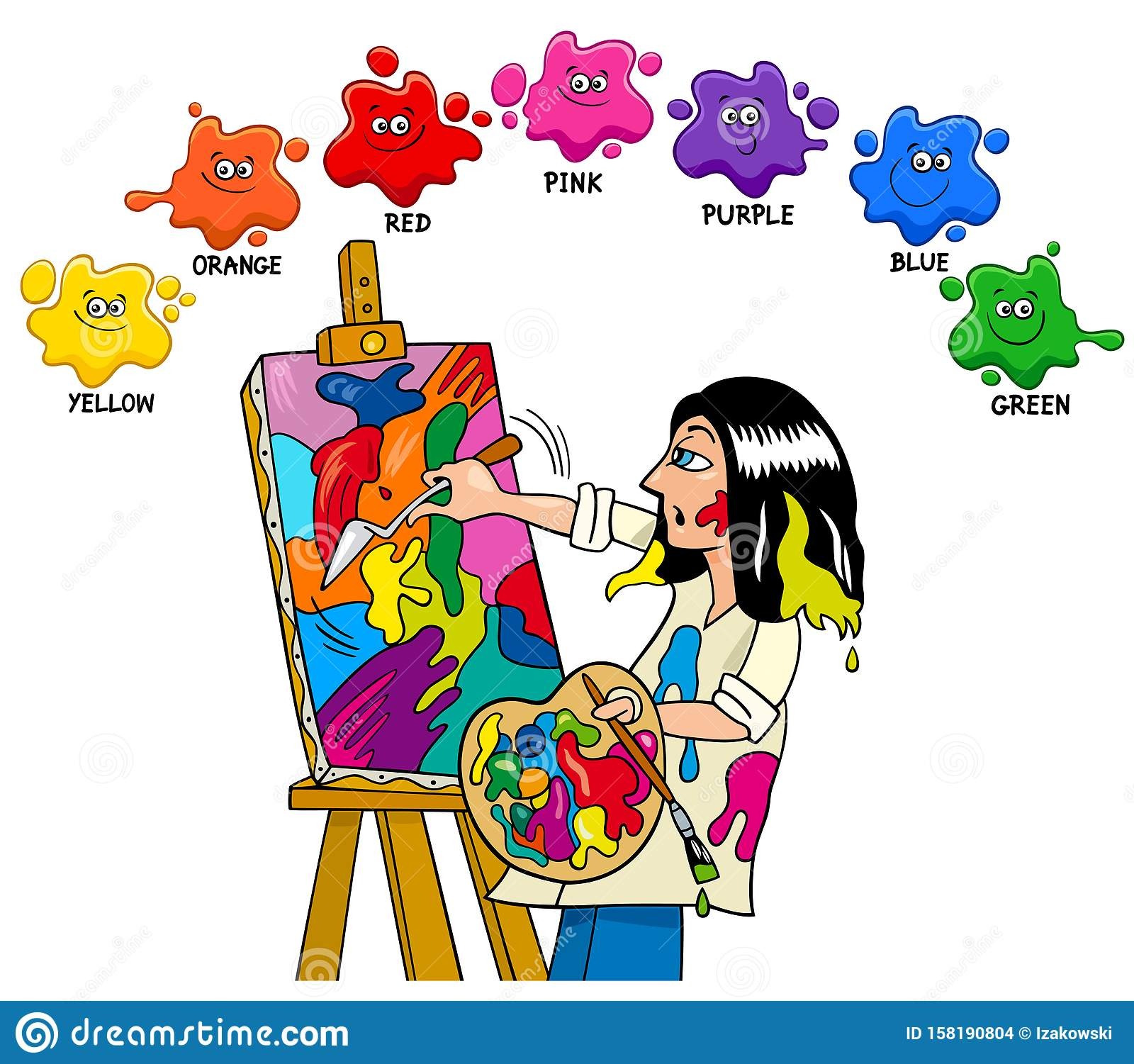 Basic Colors Educational Worksheet With Artist Painter