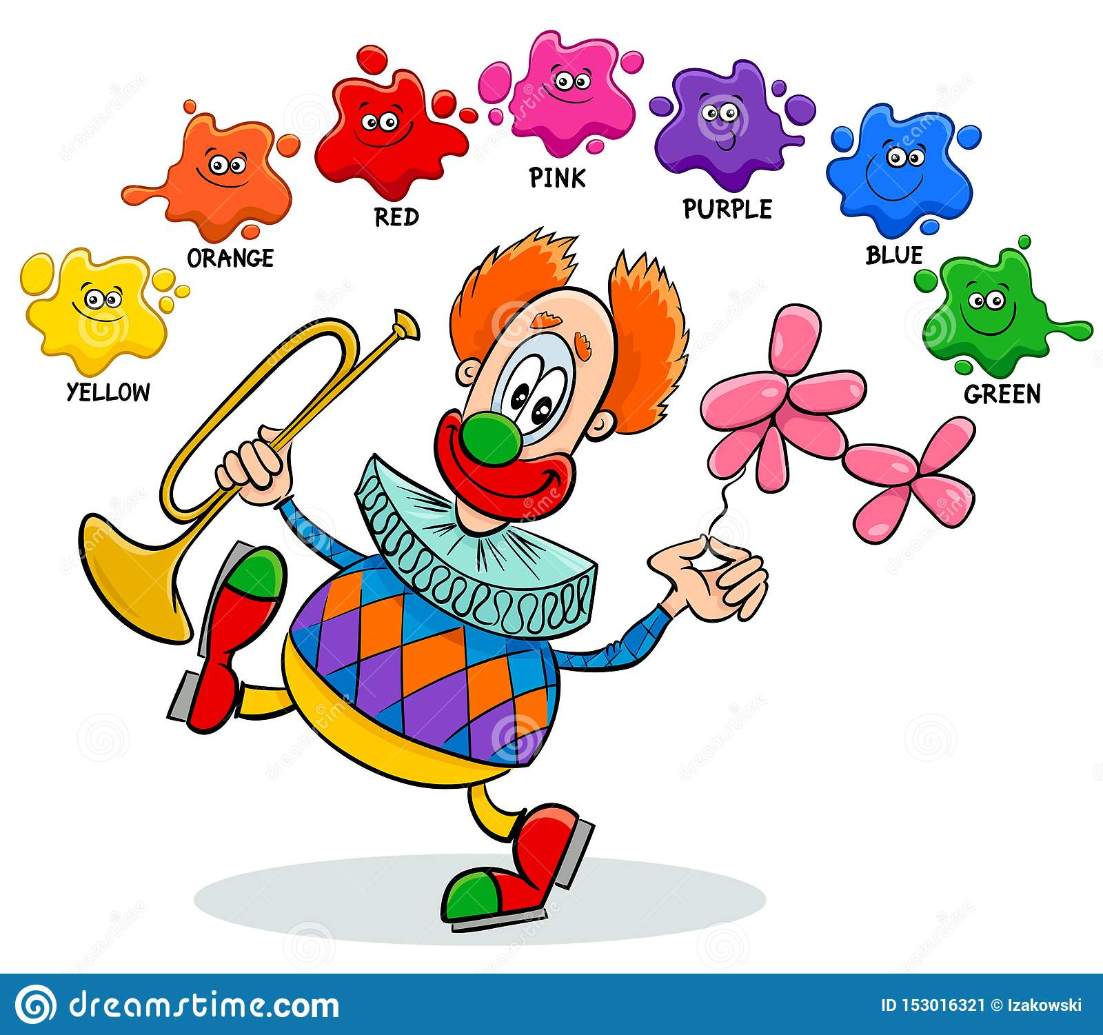 Basic Colors Educational Worksheet With Clown Stock Vector