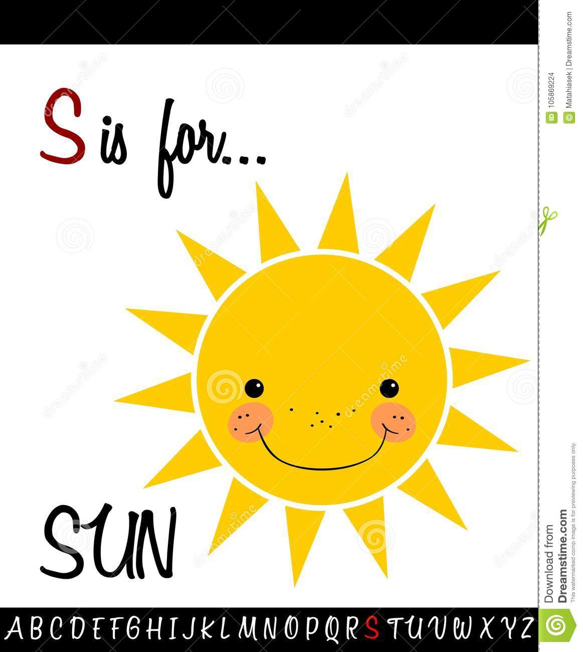 Cartoon Illustration Of Capital Letter S With Sun Stock