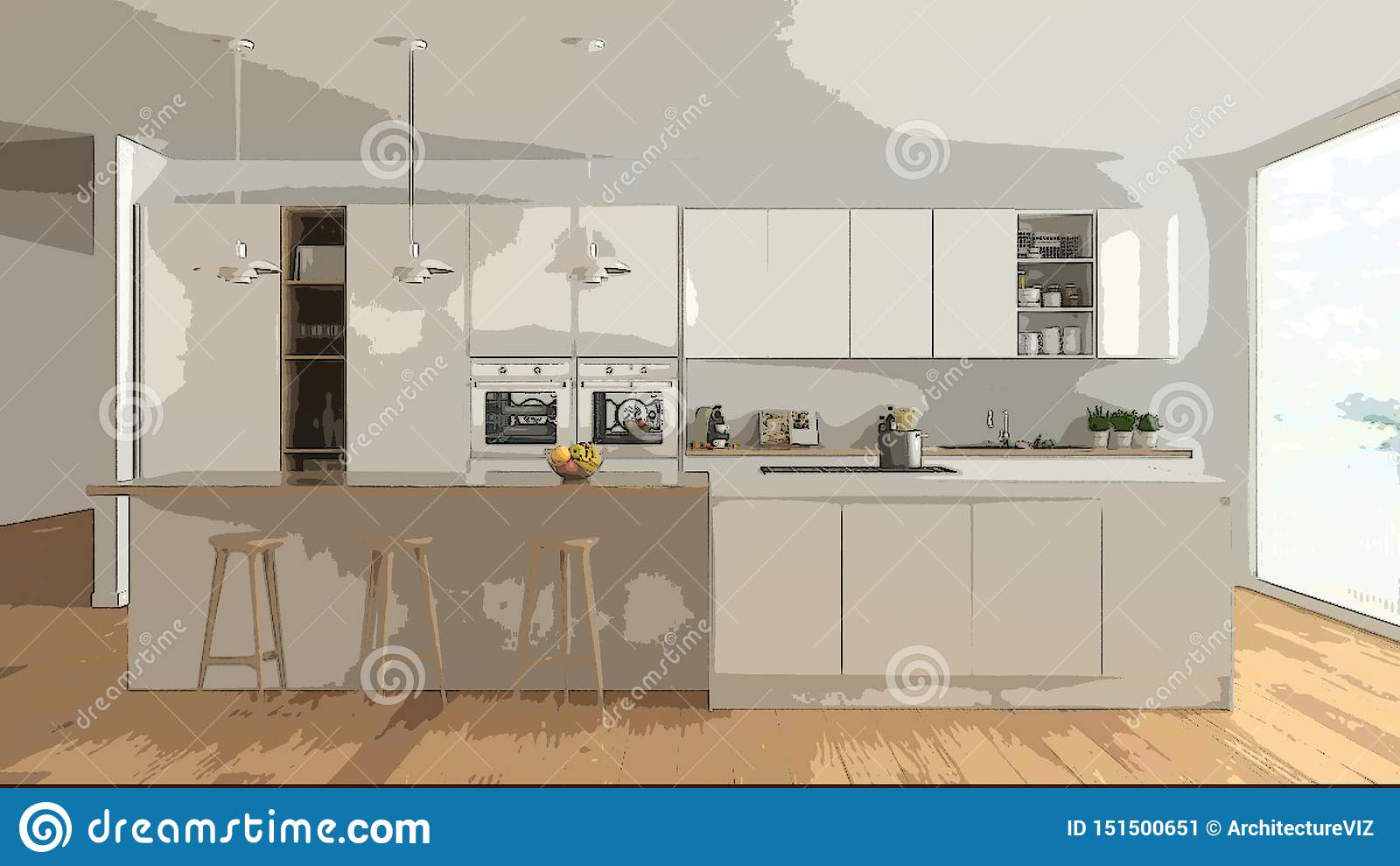 Cartoon Illustration Of Cozy Modern Kitchen Interior Design