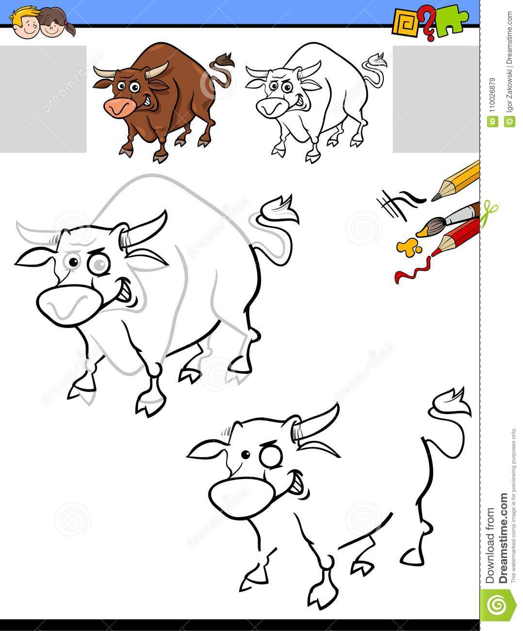 Drawing And Coloring Worksheet With Bull Stock Vector