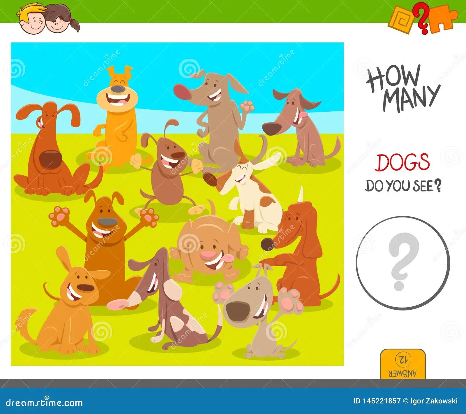 Count Cartoon Dogs Activity Worksheet Game Stock Vector