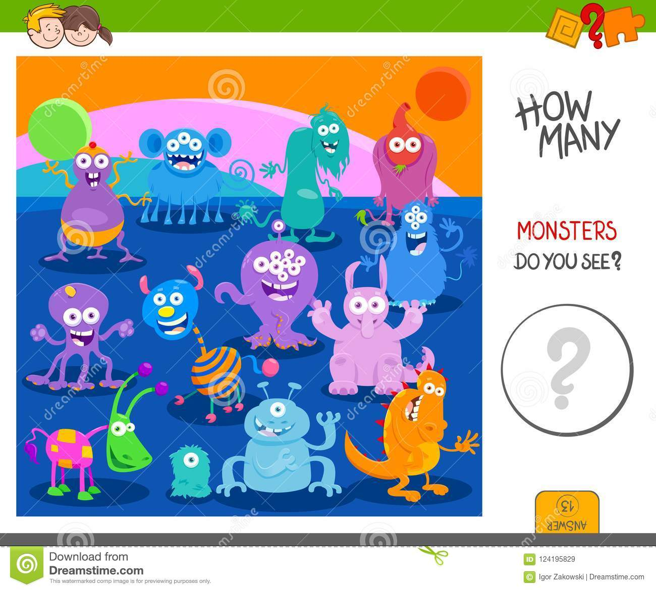 Count The Funny Monsters Activity Worksheet Stock Vector