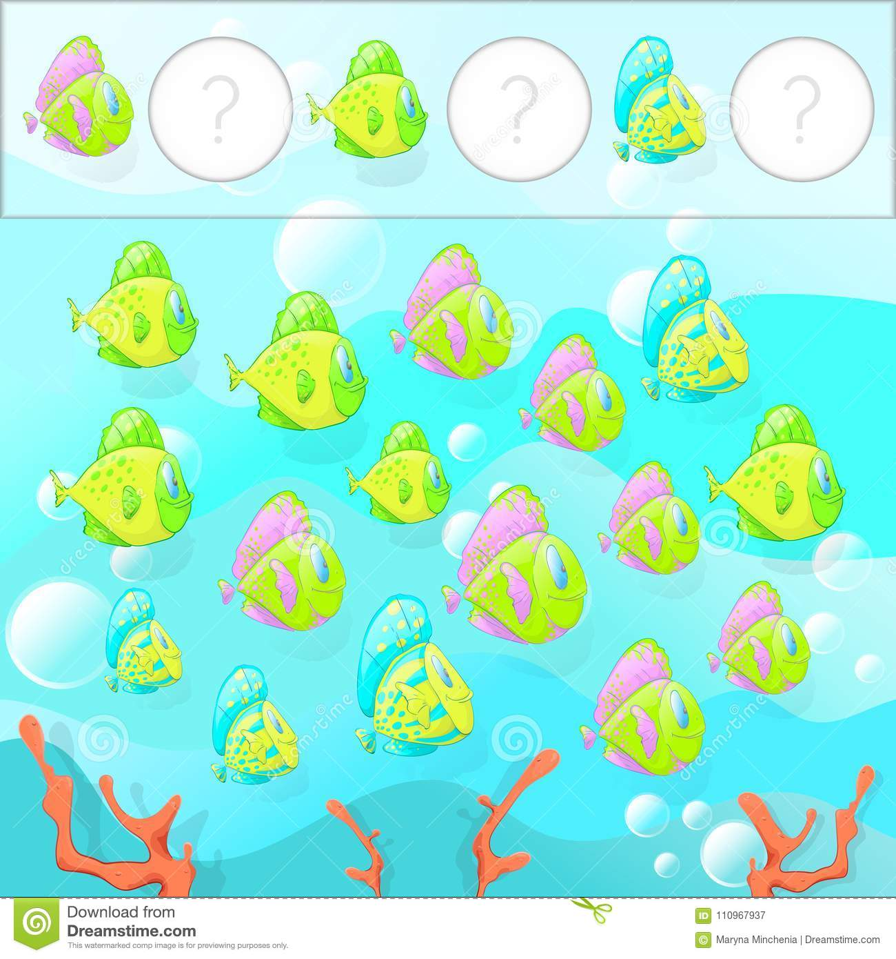 Math Task For Preschool Children Vector Illustration