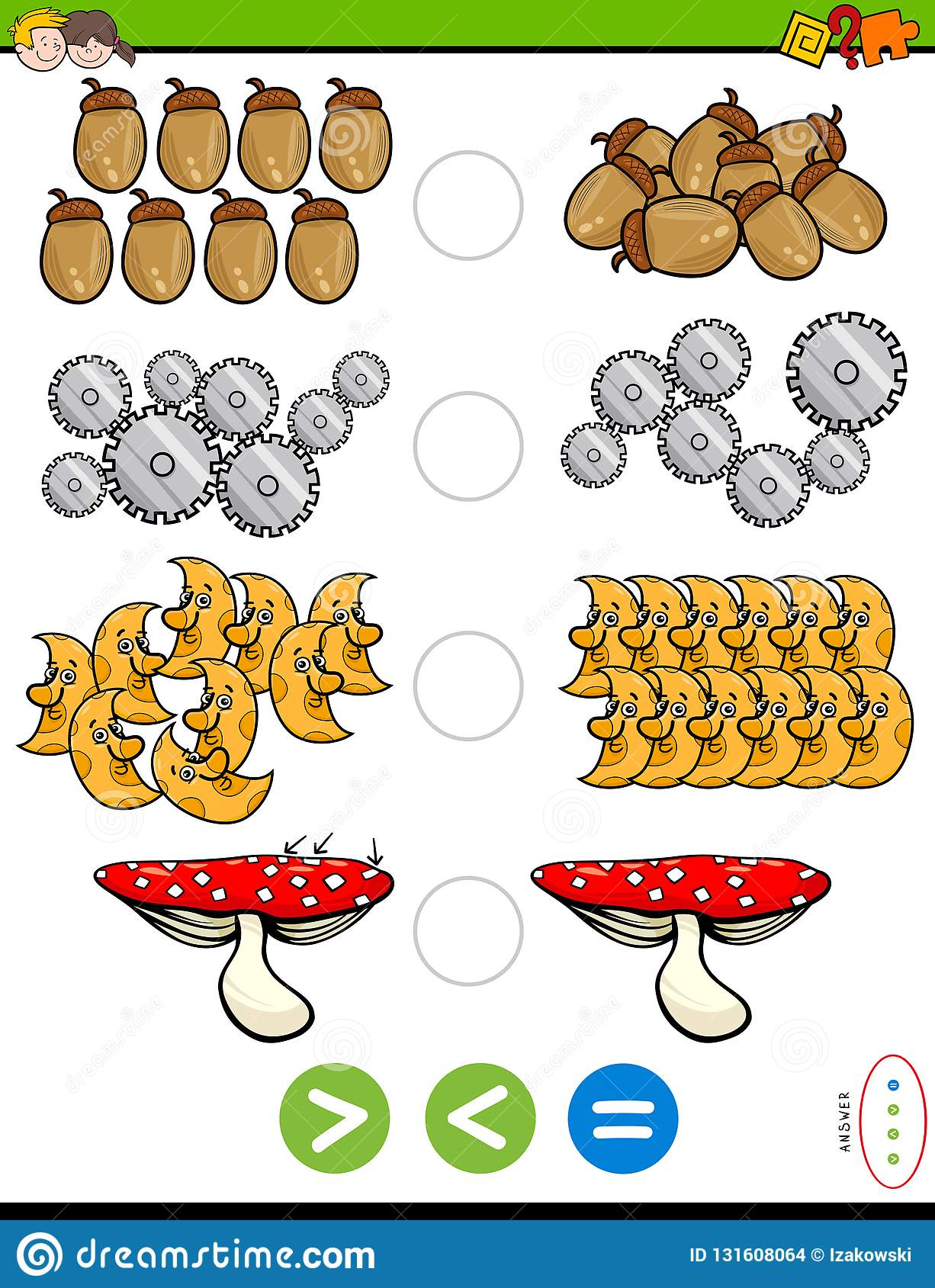 Greater Less Or Equal Educational Puzzle Stock Vector