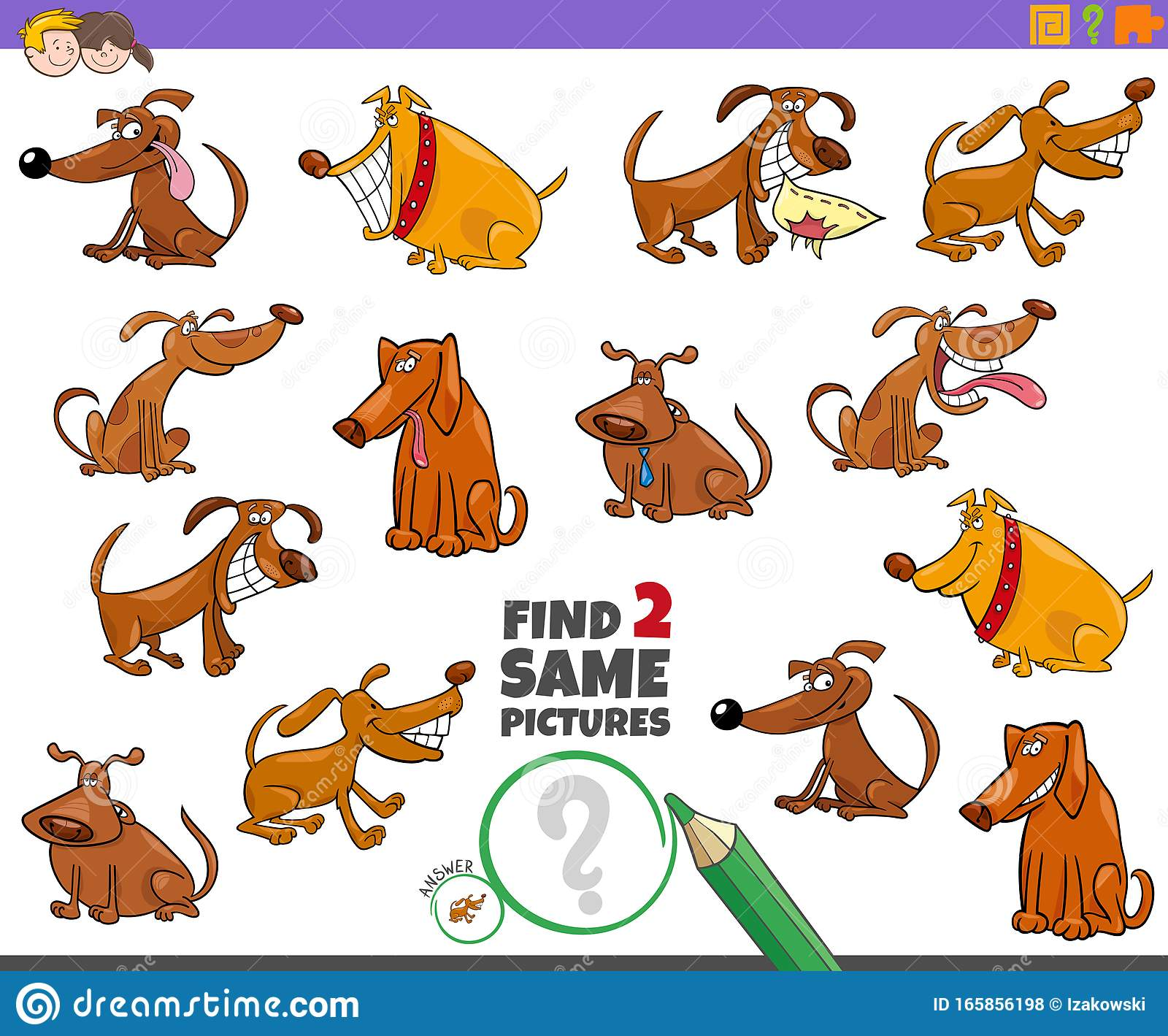 Find Two Same Dogs Game For Children Stock Vector