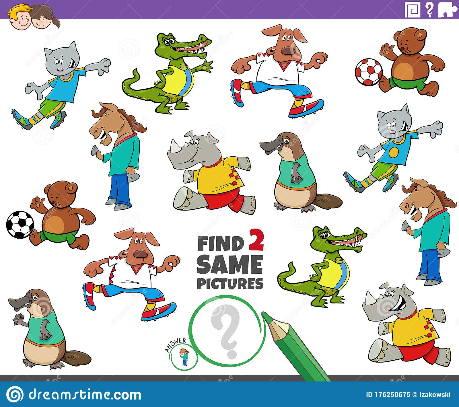 Find Two Same Animals Task For Children Stock Vector