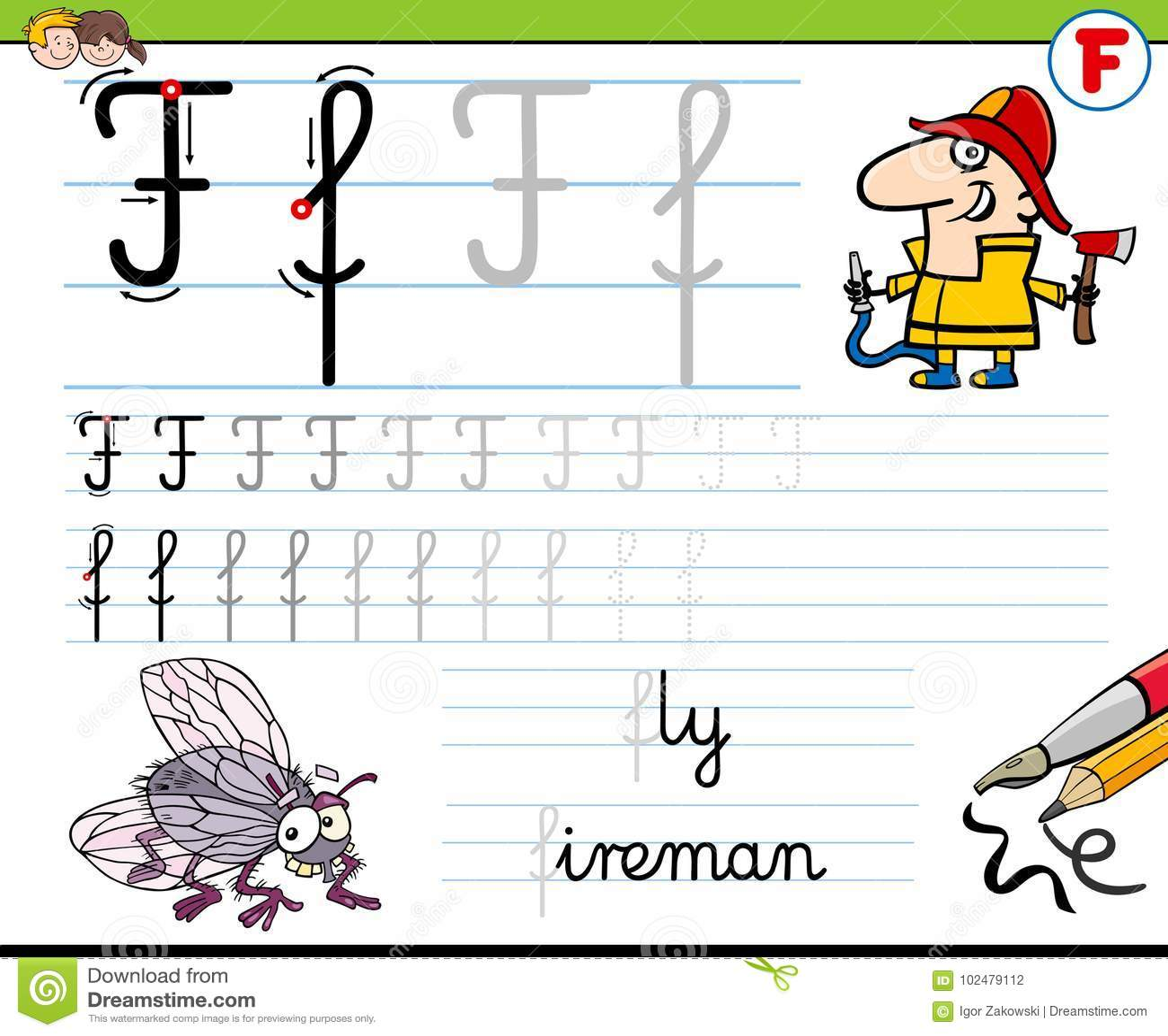 How To Write Letter F Worksheet For Kids Stock Vector