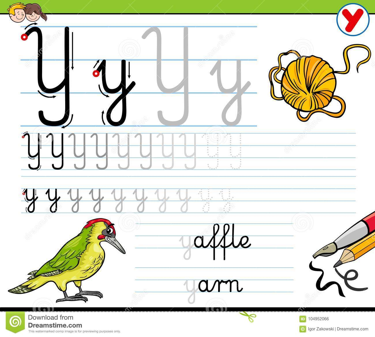 How To Write Letter Y Worksheet For Kids Stock Vector