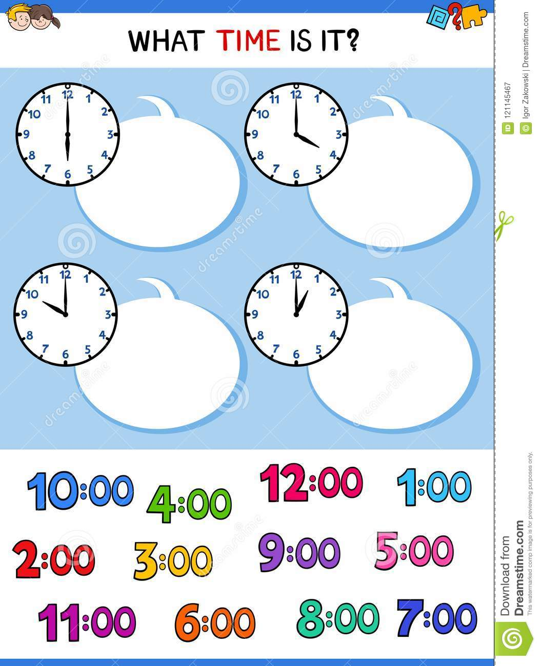 Telling Time Clock Face Cartoon Task Stock Vector