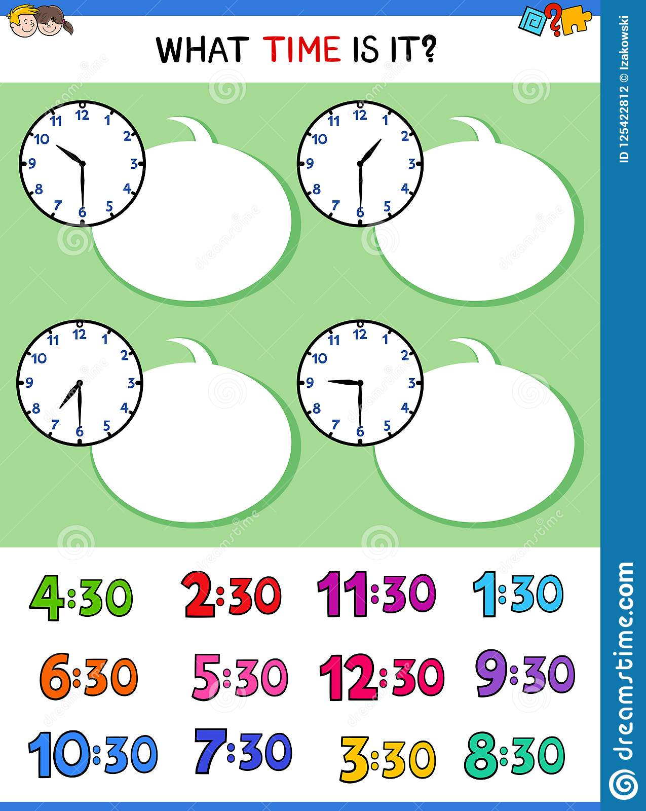 Telling Time With Clock Face Educational Game Stock Vector