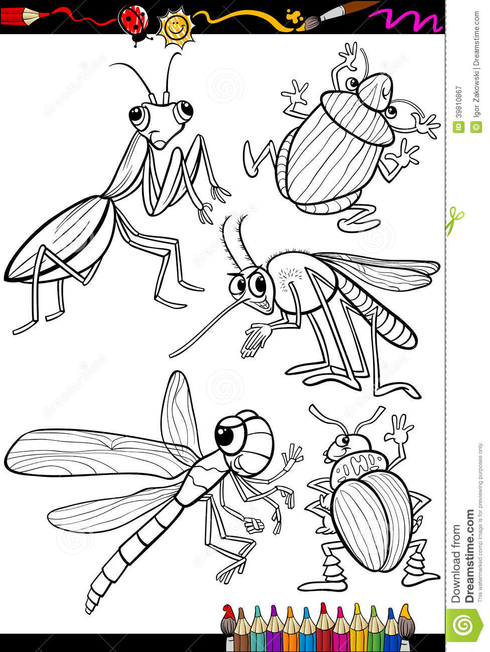 Cartoon Insects Set For Coloring Book Stock Vector Image