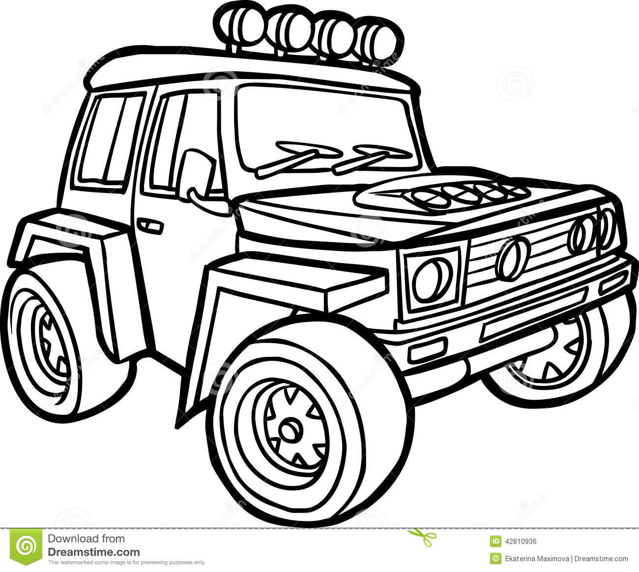 Cartoon Jeep Border Stock Illustration Illustration Of