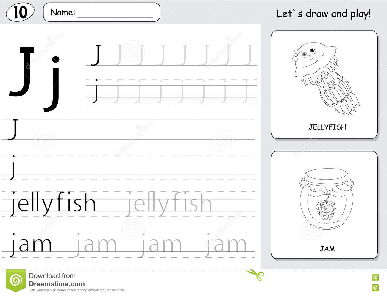 Cartoon Jellyfish And Jam Alphabet Tracing Worksheet