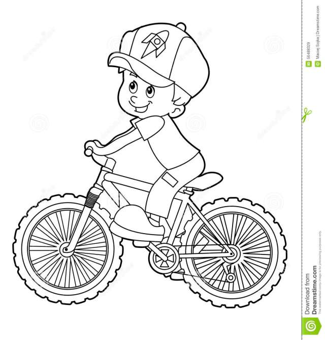 Cartoon Kid Riding Bicycle - Coloring Page Stock Illustration