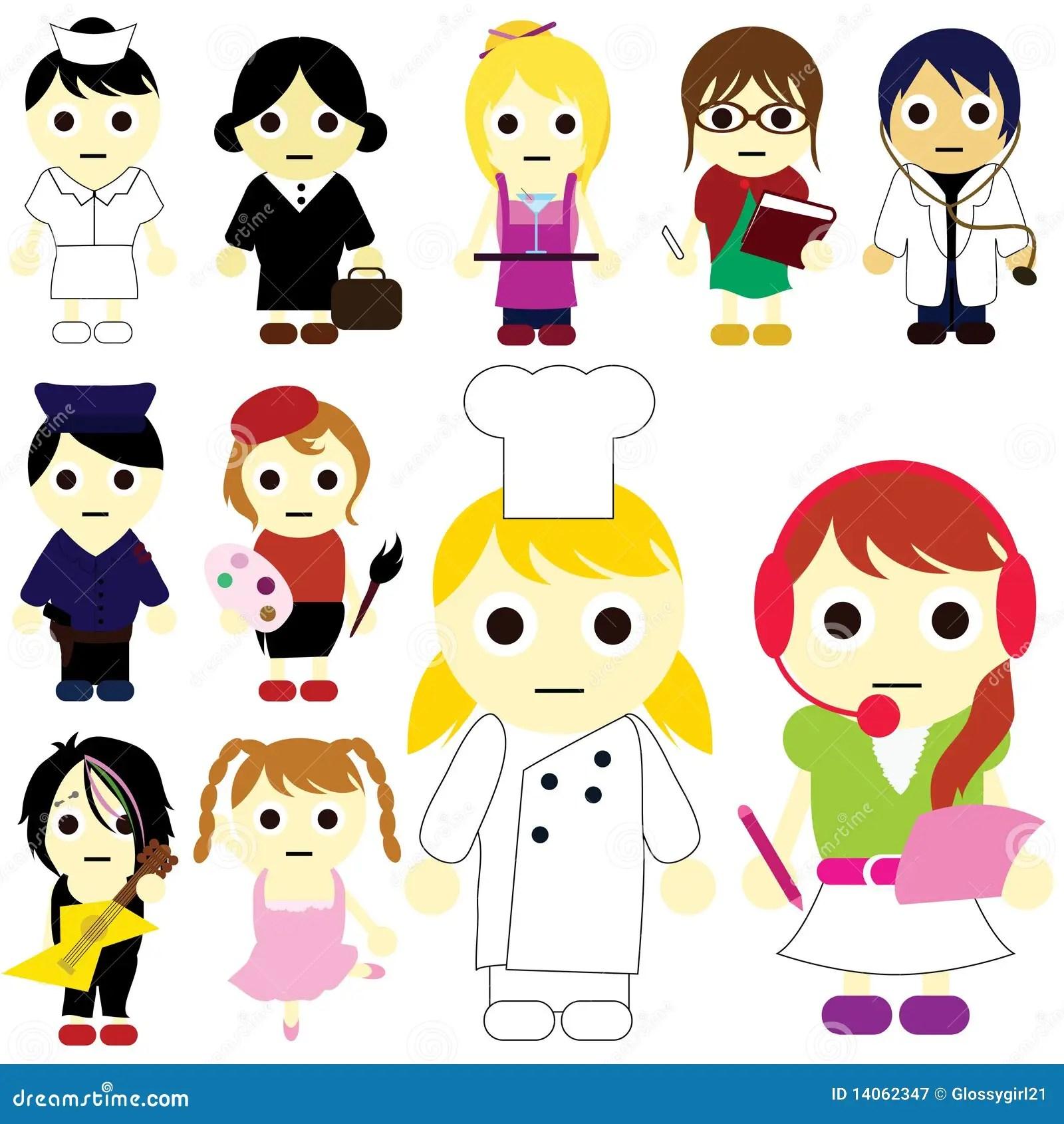 Cartoon Kids Career Stock Vector Illustration Of Happy