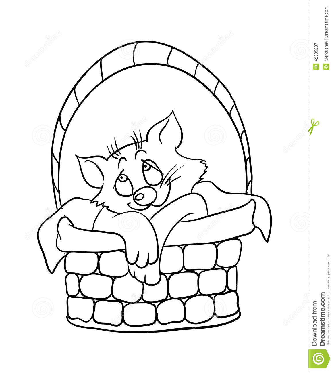 Cartoon Kitten In A Basket Vector Illustration Stock