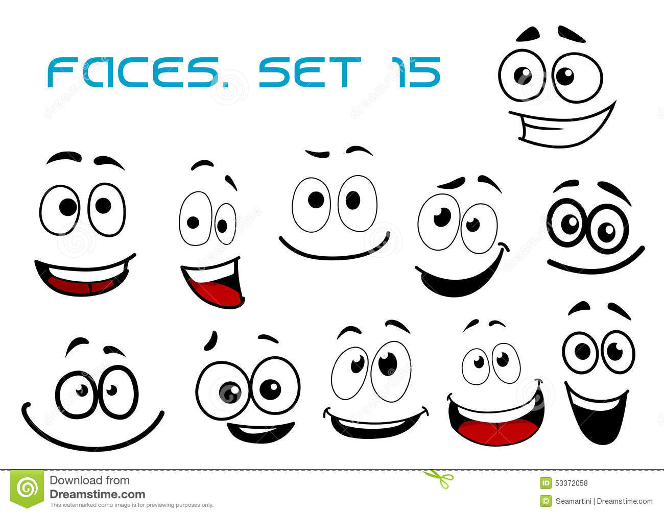Cartoon Laughing Faces With Googly Eyes Stock Vector