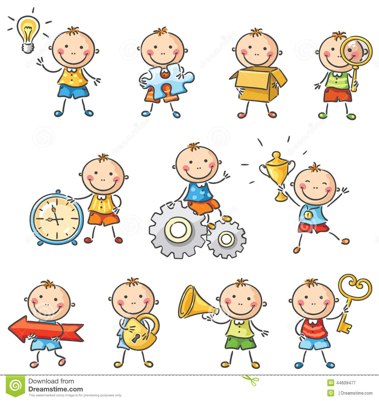 Cartoon Little Boy With Different Objects Stock Vector