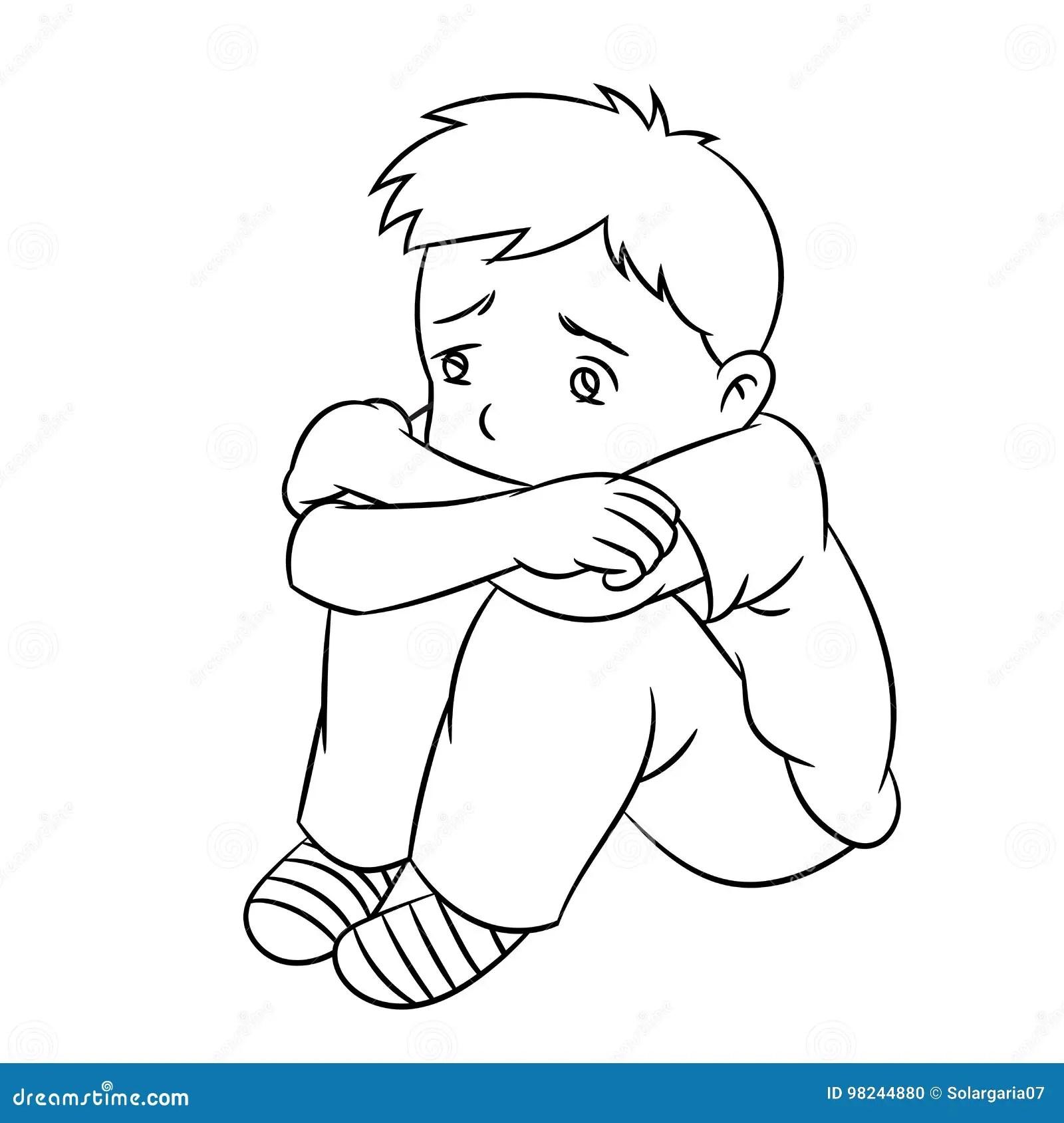 Cartoon Lonely Boy