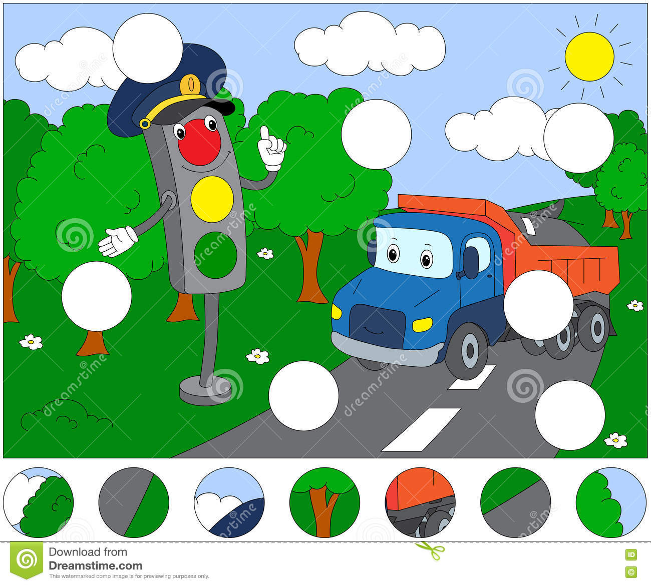 Cartoon Lorry And Traffic Lights Complete The Puzzle And