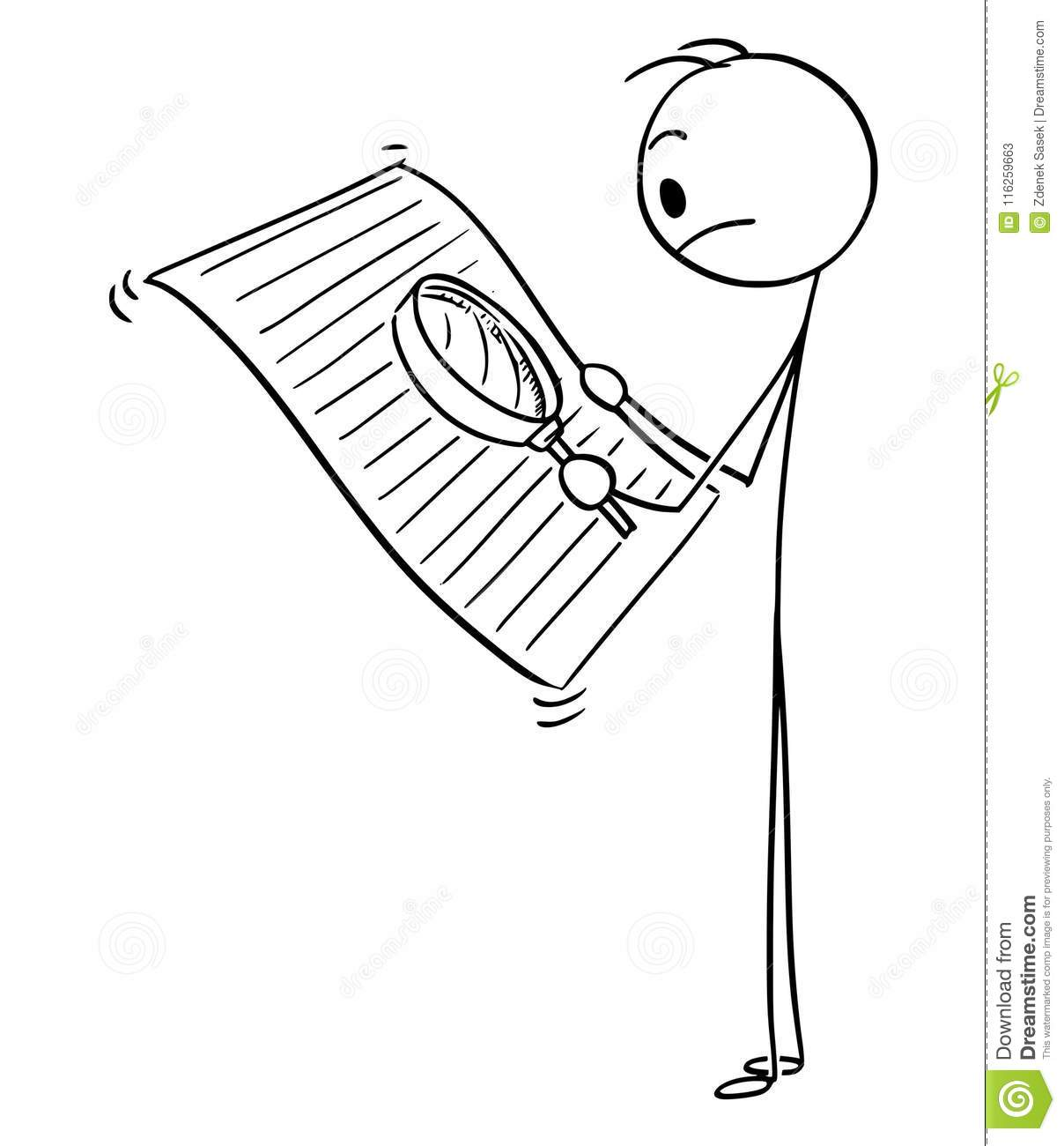 Cartoon Of Man Or Businessman Reading Document With