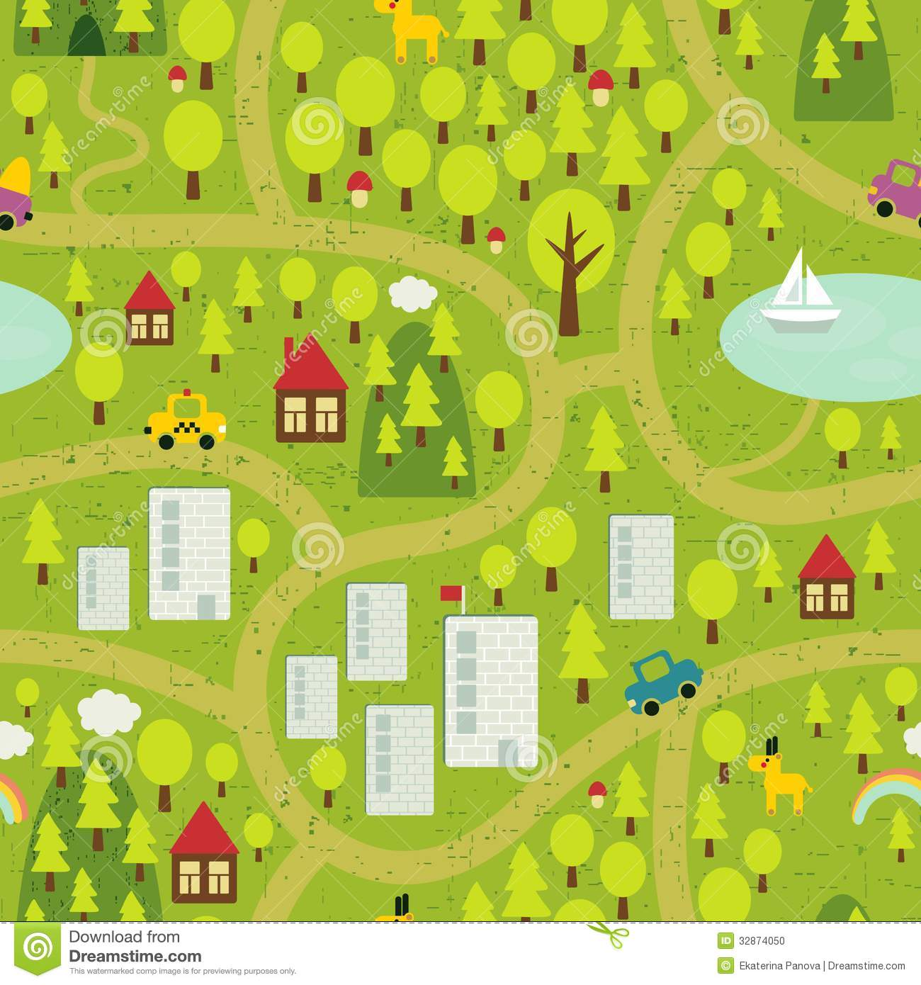 Cartoon Map Of Small Town And Countryside Stock Photo