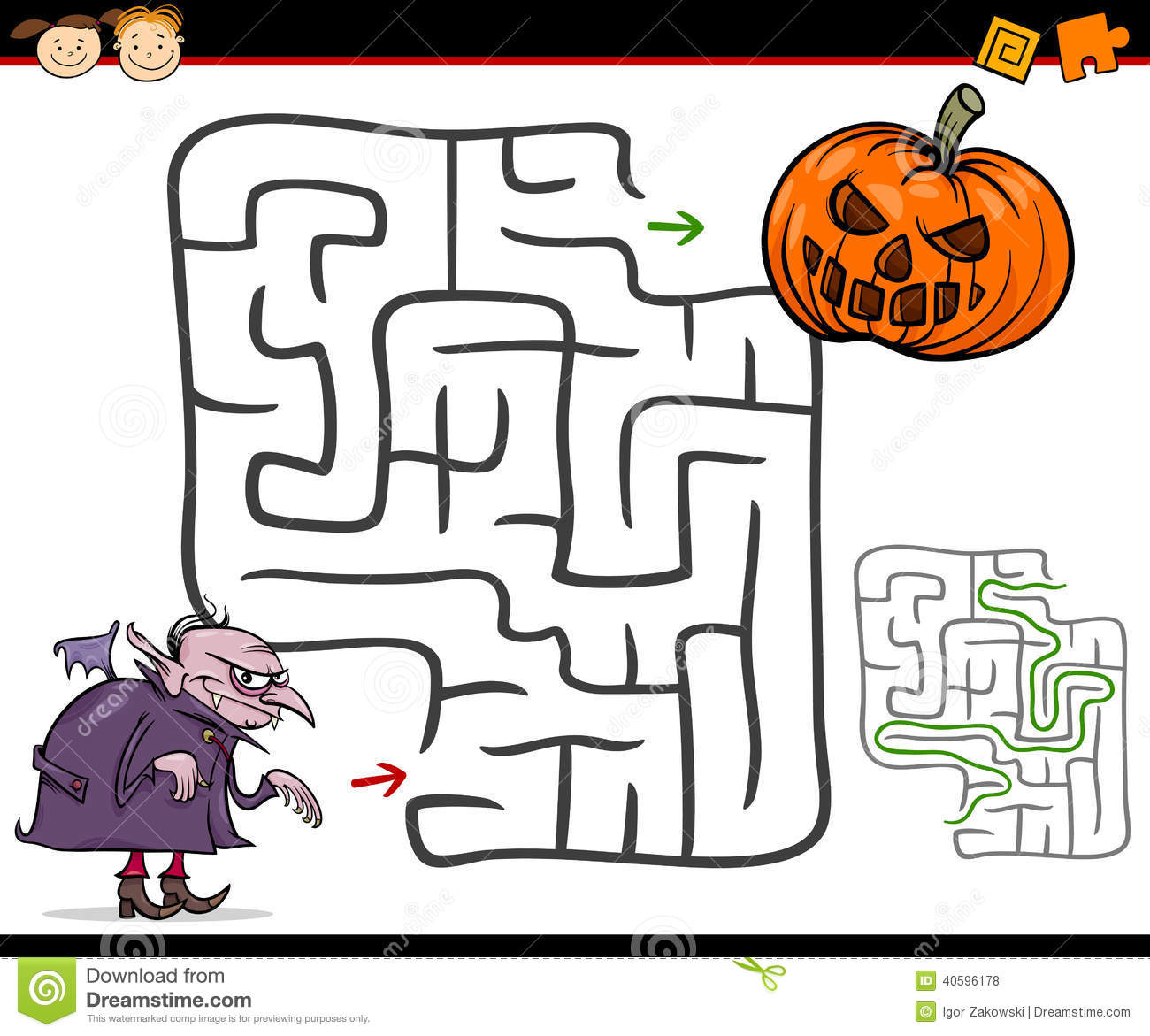 Cartoon Maze Or Labyrinth Game Stock Vector