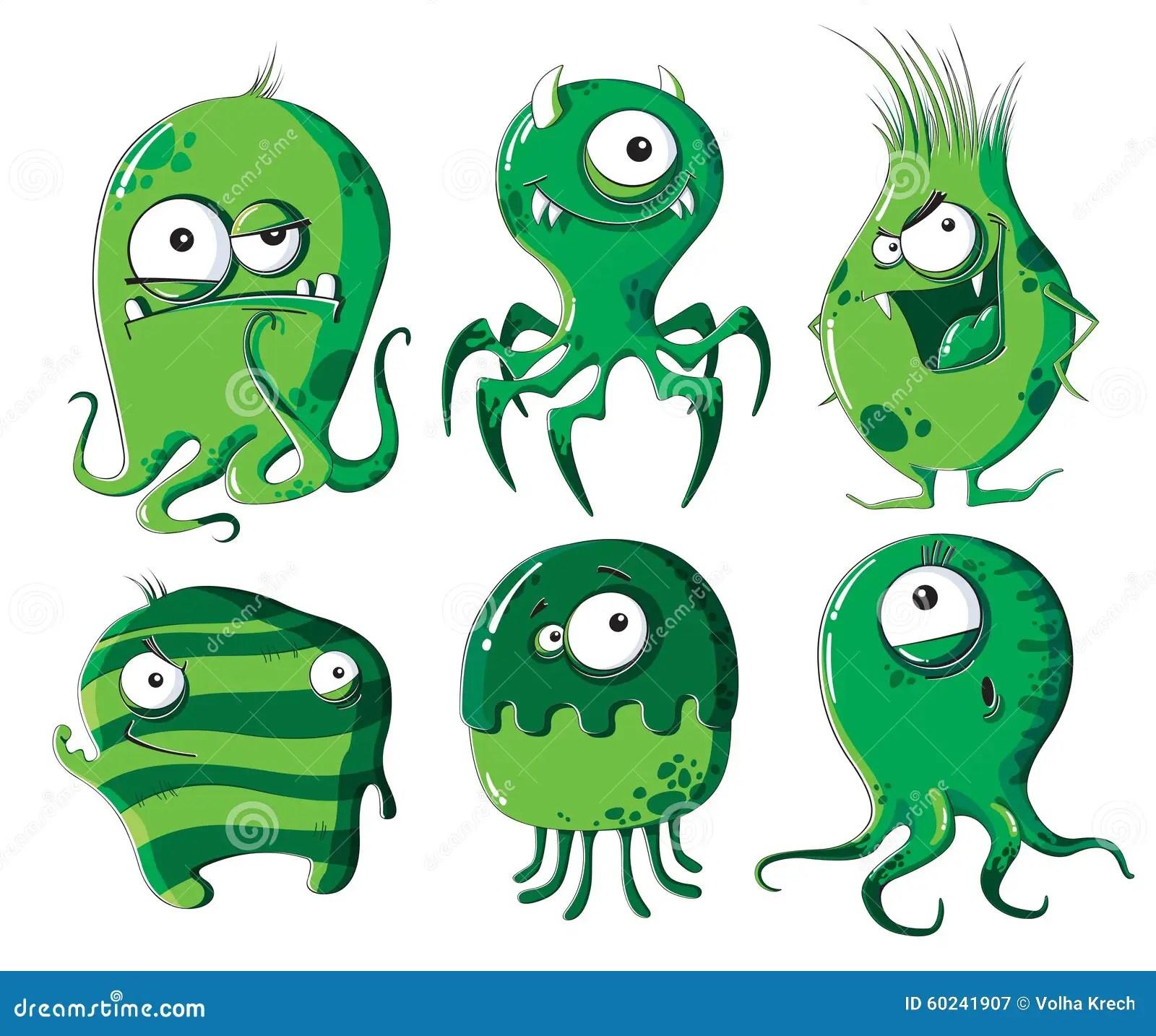 Cartoon Microbes And Bacteria Stock Vector