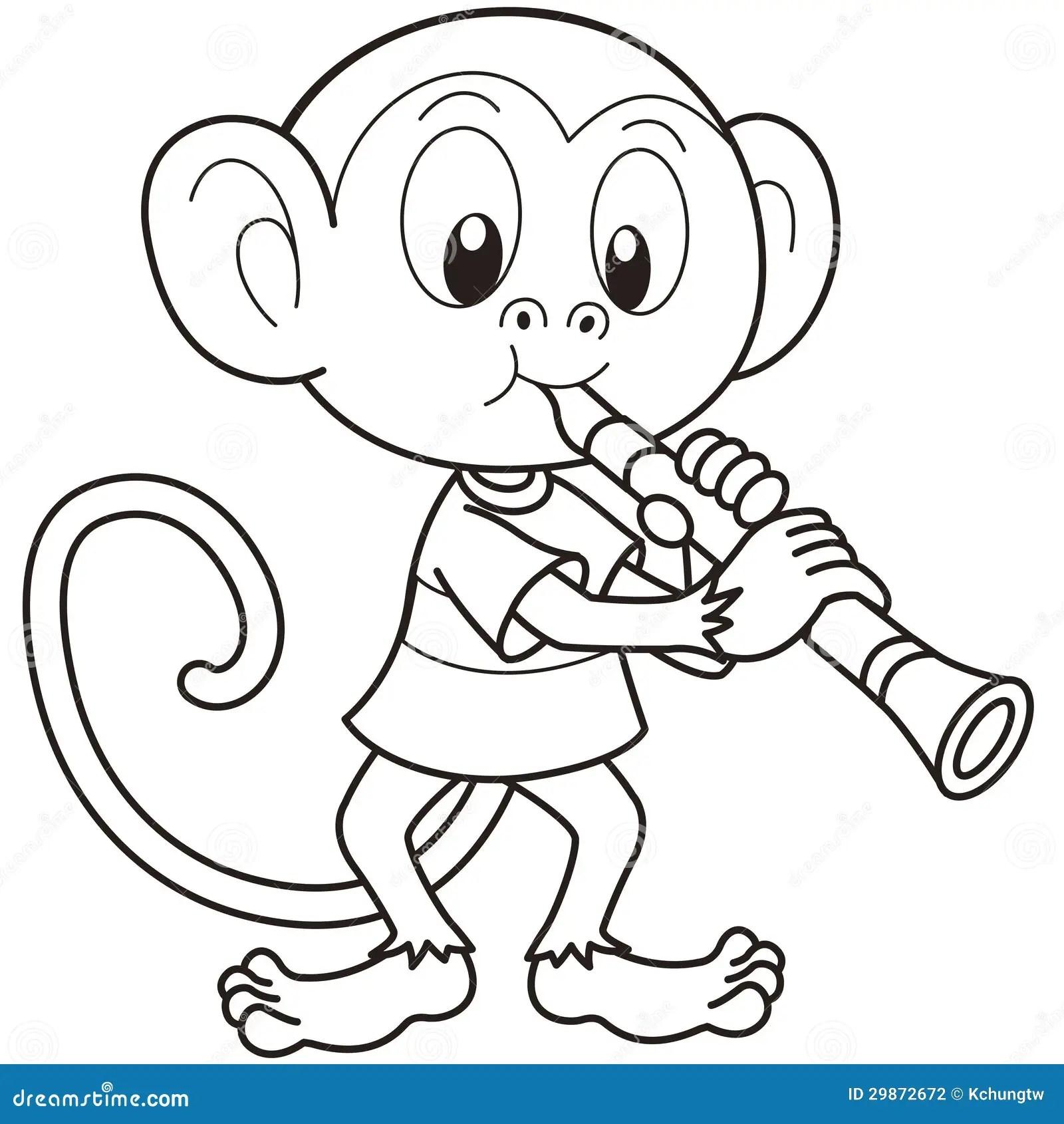 Cartoon Monkey Playing A Clarinet Stock Vector