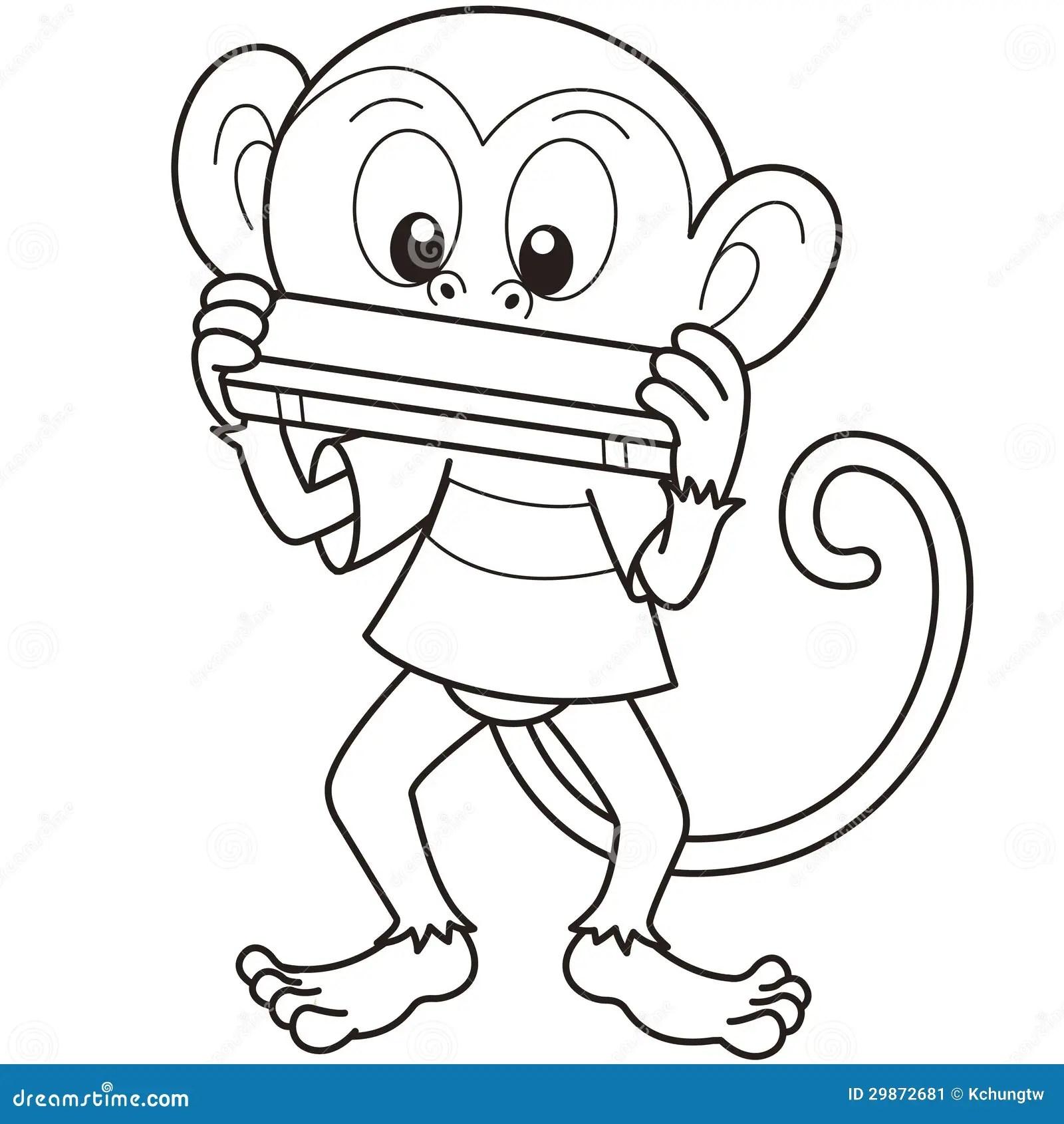Cartoon Monkey Playing A Harmonica Stock Vector