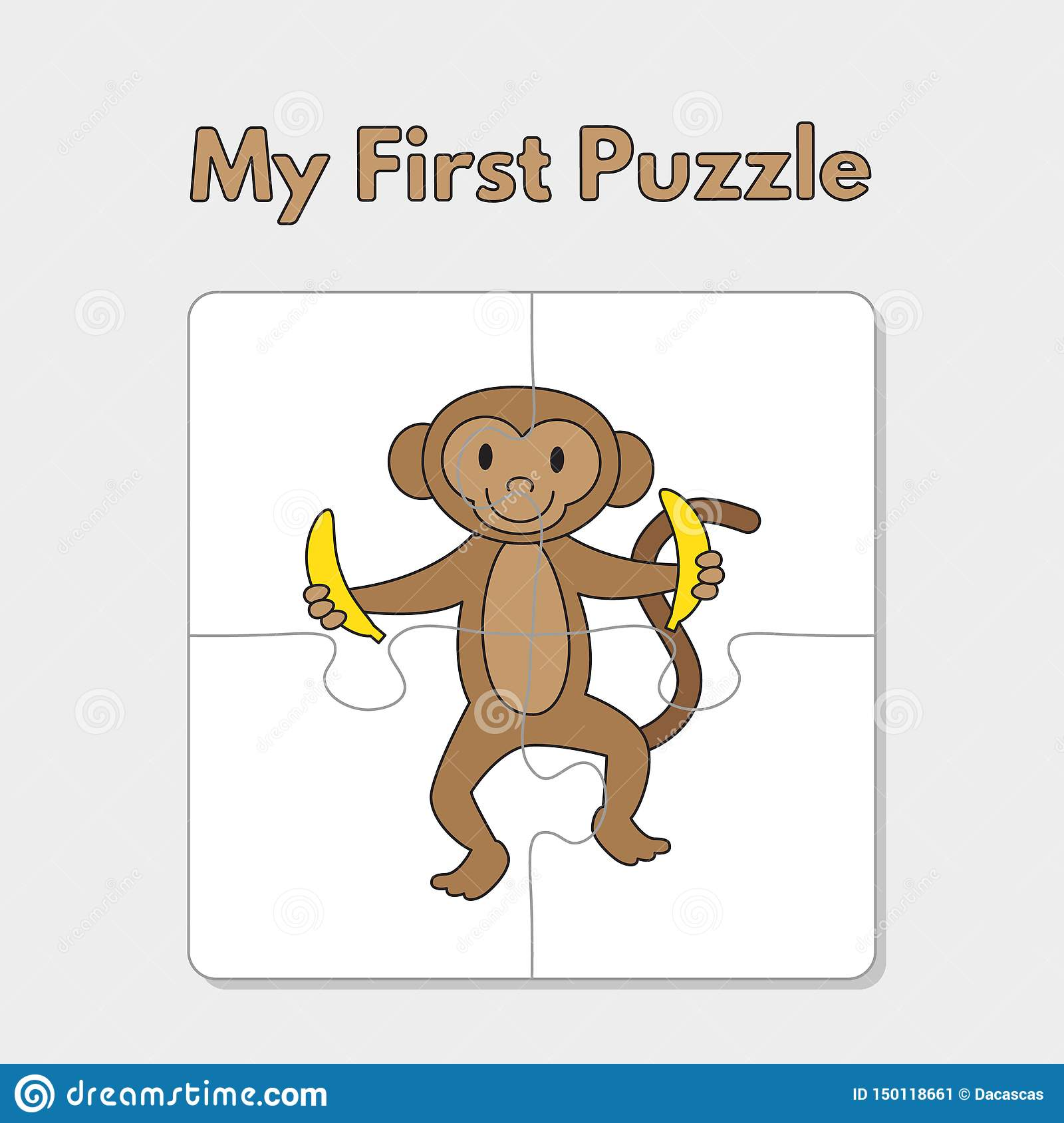 Cartoon Monkey Puzzle Template For Children Stock Vector
