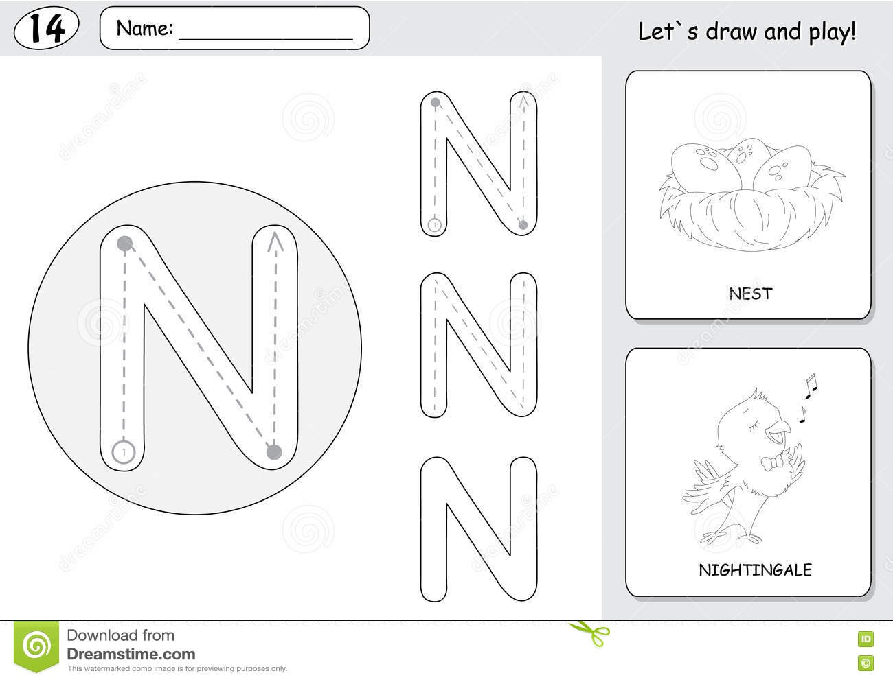 Cartoon Nightingale And Nest Alphabet Tracing Worksheet Writing A Z And Educational Game For