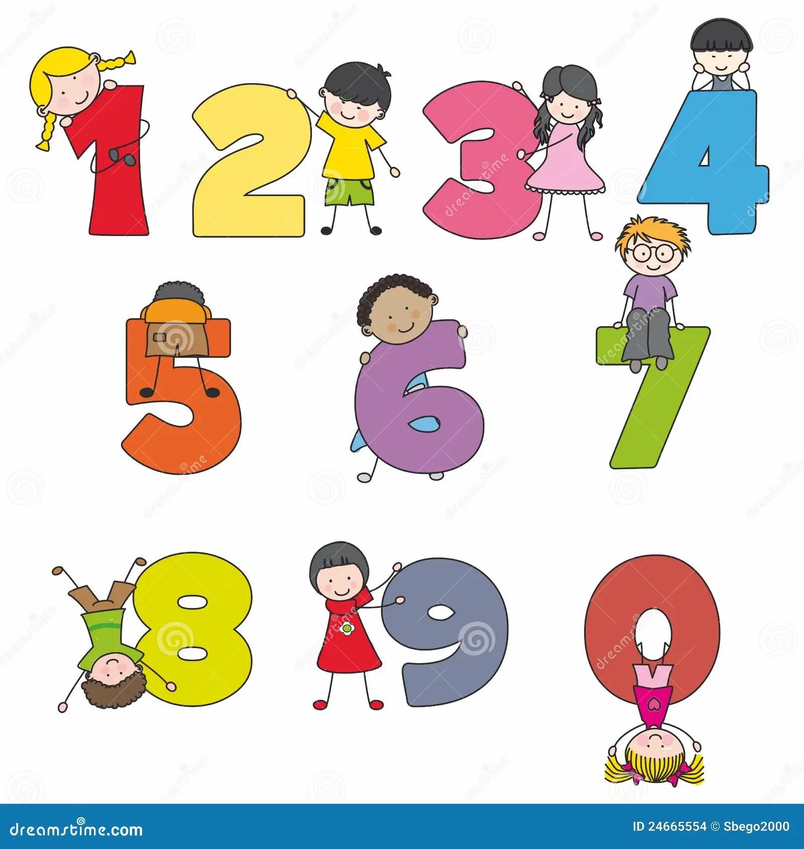 Cartoon Numbers And Children Stock Vector