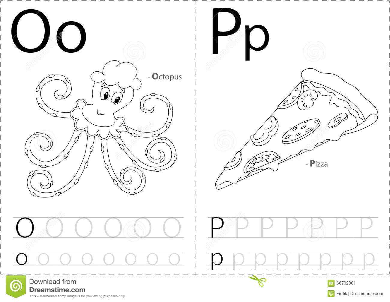 Cartoon Octopus And Pizza Alphabet Tracing Worksheet
