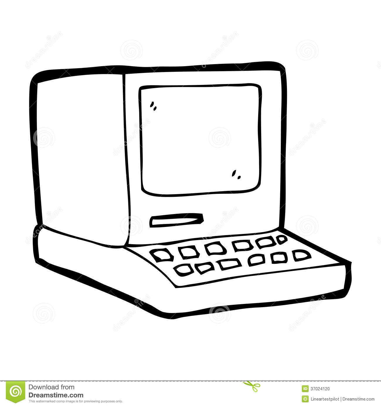Cartoon Old Computer Stock Illustration Illustration Of