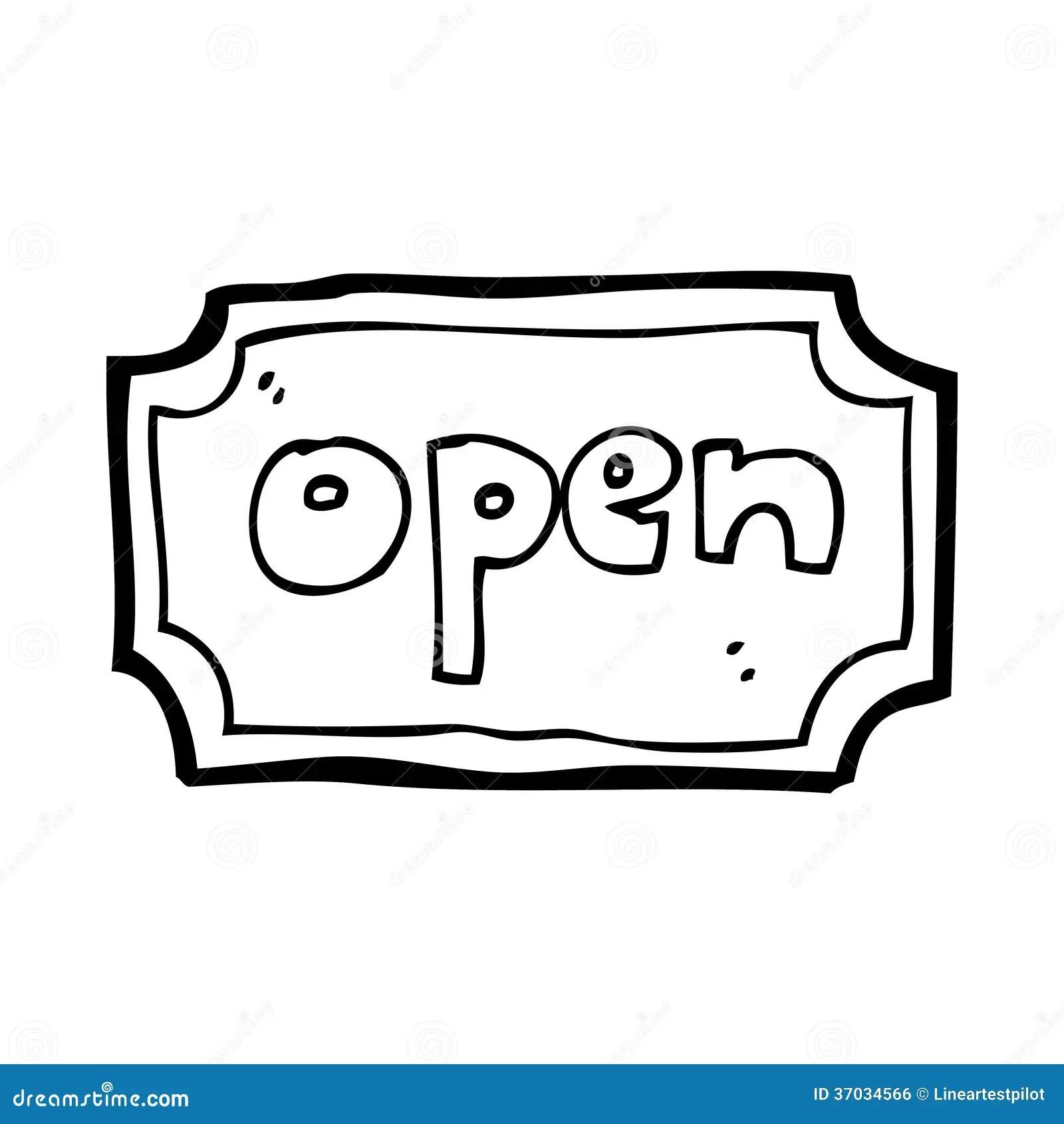 Cartoon Open Sign Stock Illustration Illustration Of