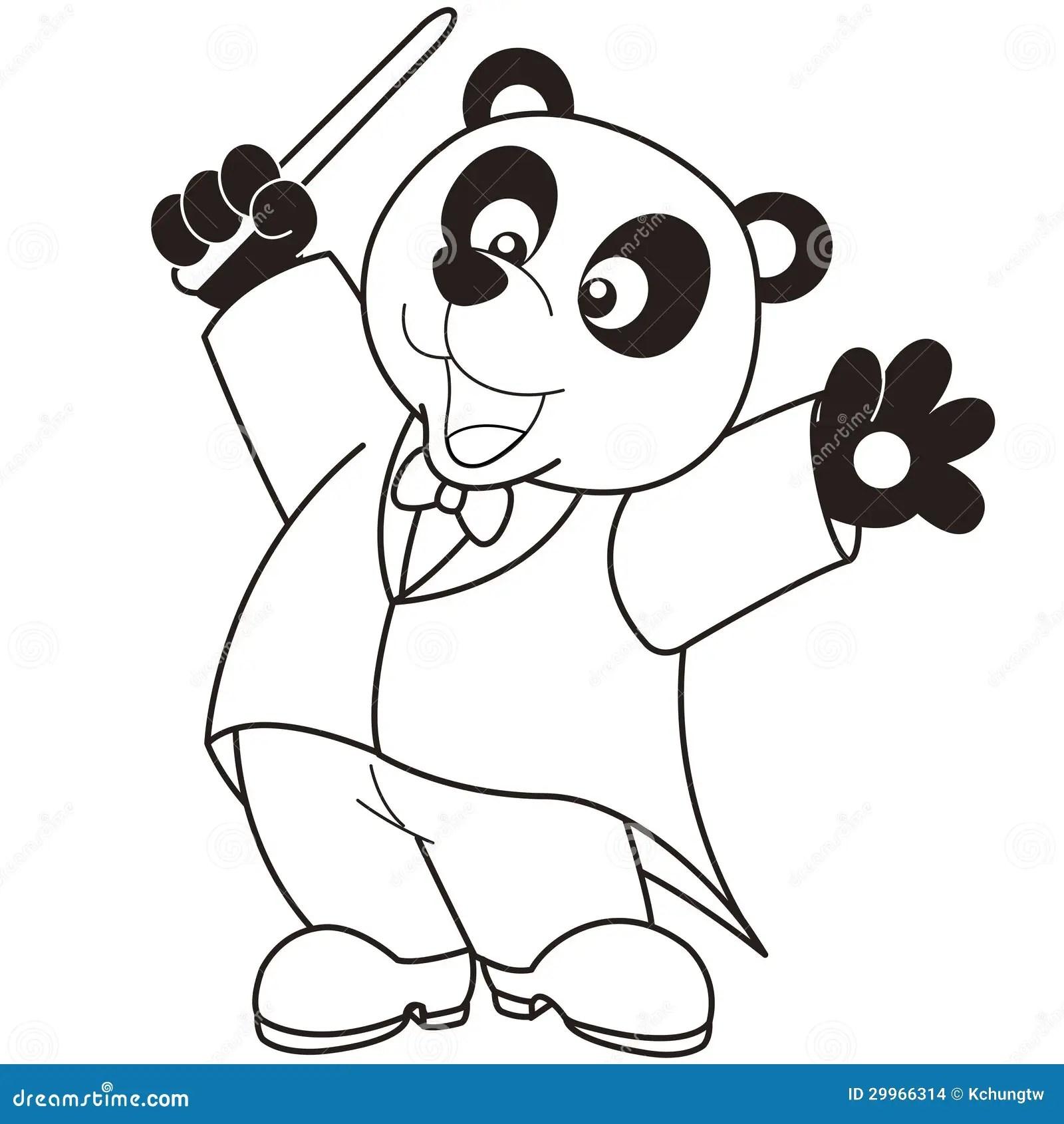 Cartoon Panda Music Conductor Stock Images