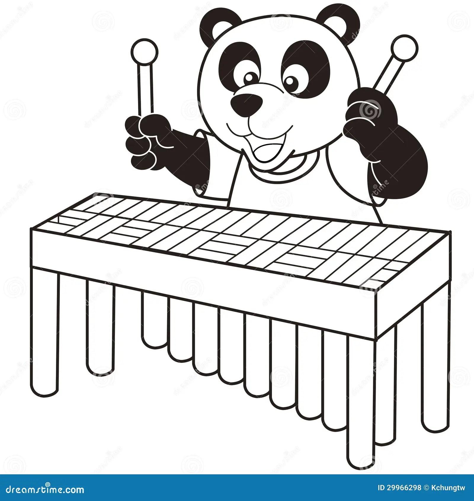 Cartoon Panda Playing A Vibraphone Royalty Free Stock