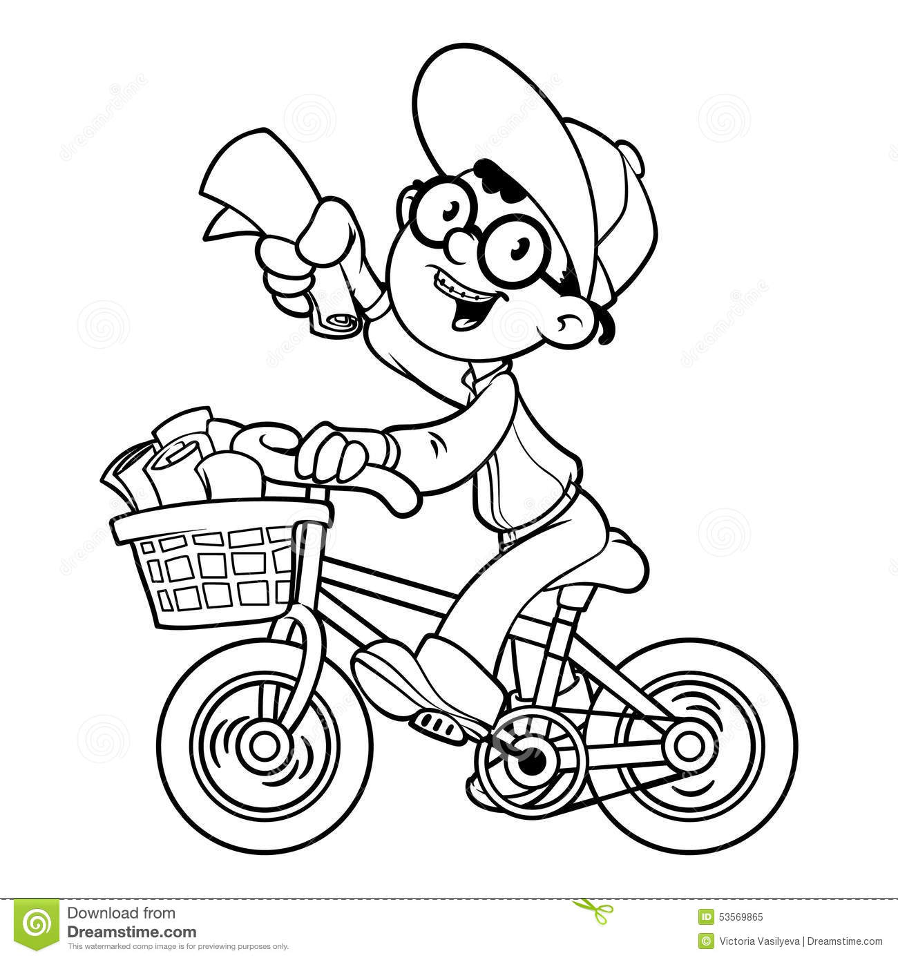 Cartoon Paper Boy By Bike Outline Stock Vector