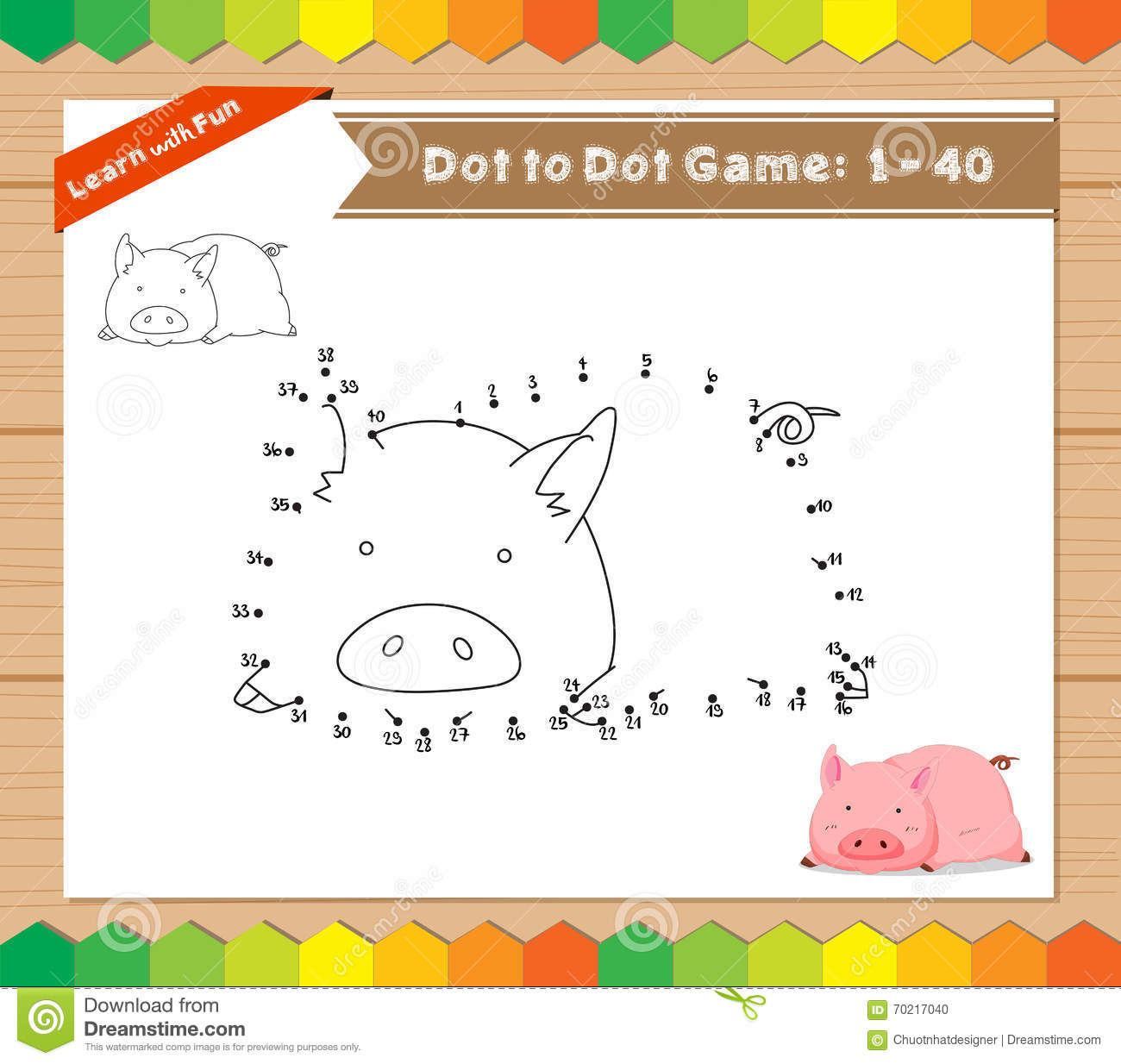 Cartoon Pig Dot To Dot Educational Game For Kids Stock
