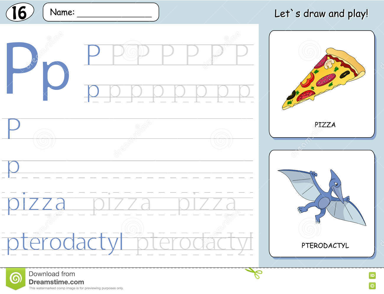 Cartoon Pizza And Pterodactyl Alphabet Tracing Worksheet